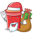 santa with gift bucket character cartoon style vector image vector image