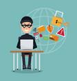 scene color thief hacker in desk with laptop vector image vector image