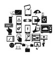 screen icons set simple style vector image vector image