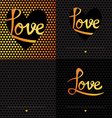 Set of 4 Posters Romantic greeting card with vector image
