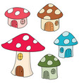 set of mushroom house vector image