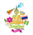 songkran festival thailand buddha flag sandals vector image