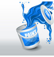 splash navy paint realistic 3d image vector image
