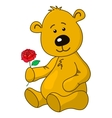 teddy-bear with a rose flower vector image