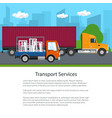 trucks drive on the road flyer vector image vector image