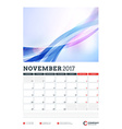 Wall Calendar Planner Template for 2017 Year