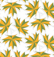 White 3D with colors green and yellow maple leaves vector image vector image
