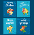 winter christmas card with elf and present vector image vector image