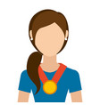 woman with winner medal character vector image vector image