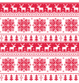 Xmas nordic seamless red pattern with deer vector image vector image