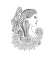young woman head with floral hair vector image vector image