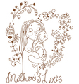 Background with mother and baby and flowers vector image
