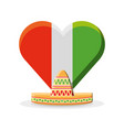mexico flag in a heart shape vector image
