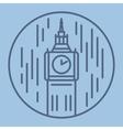 simple line drawn of london big ban vector image