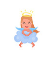 lovely blonde little angel girl playing on a cloud vector image