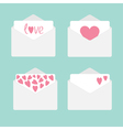 Set of four envelopes with hearts Love card vector image