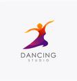 abstract dancing woman logo icon vector image vector image