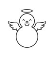angel snowman outline icon winter and christmas vector image vector image