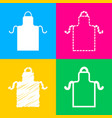 apron simple sign four styles of icon on four vector image