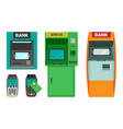 atm machine and cash terminal set device vector image vector image
