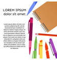 background with notebook pens pencils vector image
