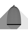 bird cage sign black icon with two flat vector image vector image