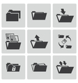 black folder icons set vector image vector image