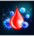 blood testing concept with drop and virus vector image vector image