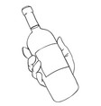 cartoon image of hand holding bottle of wine vector image