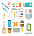 cartoon medicaments different medical pills and vector image vector image