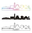 Castellon skyline linear style with rainbow vector image vector image
