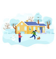 children playing outdoors in winter kids building vector image vector image