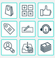 commerce icons set with paper money badge vector image vector image
