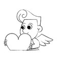 cupid holding heart sketch vector image vector image