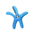 cute blue cartoon starfish character invertebrate vector image vector image