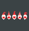 cute gnomes in red hats flat cartoon style vector image