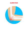 Elbow pain Elbow pain icon isolated on white vector image