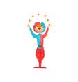 funny clown cartoon character juggling vector image vector image
