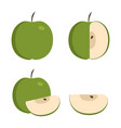 green apple icons set in flat design vector image