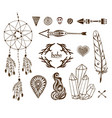 hand-drawn boho collection with arrows crystal vector image vector image