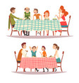 happy families sitting at kitchen table vector image vector image