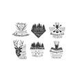 hunting club adventures premium retro labels set vector image vector image