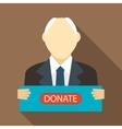 Man with a sign to donate icon flat style vector image vector image