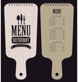 menu in wooden cutting board vector image vector image