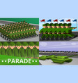 military parade banner set cartoon style vector image
