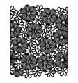 monochrome pattern with contour flowers set vector image vector image