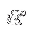 mouse drinking coffee logo mascot cup vector image vector image