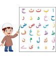 muslim boy teaching arabic alphabet vector image vector image