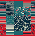 nautical and marina elements patchwork wallpaper vector image vector image