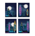 night city landscape with buildings in neon lights vector image